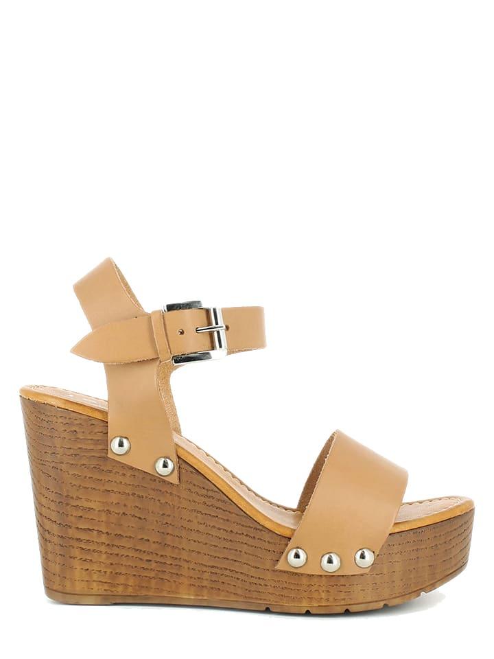 JONAK Leder-Sandaletten in Beige