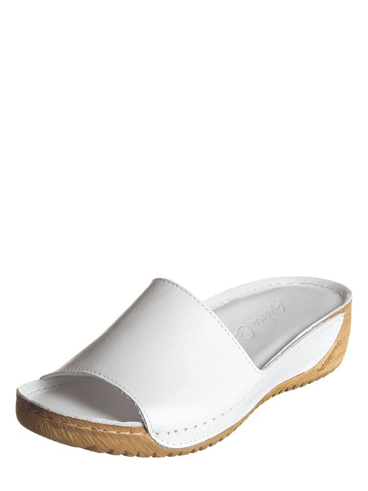 Andrea Conti Leder-Pantoletten in Weiß