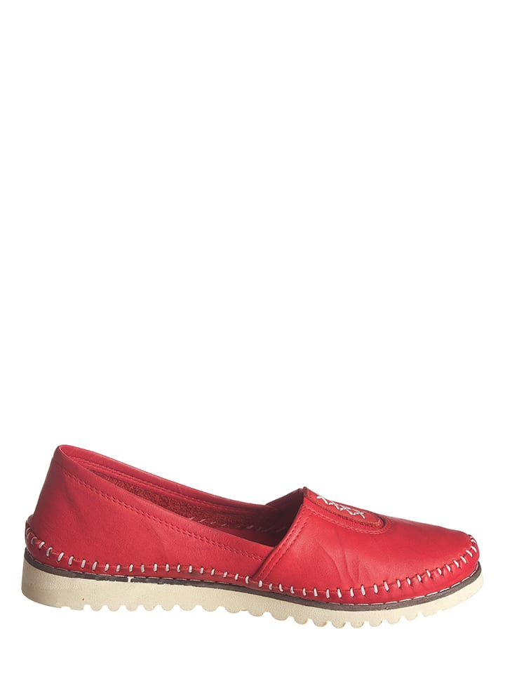 Andrea Conti Leder-Slipper in Rot