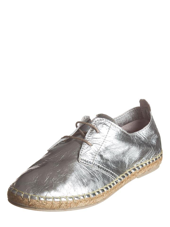 Andrea Conti Leder-Schnürschuhe in Silber