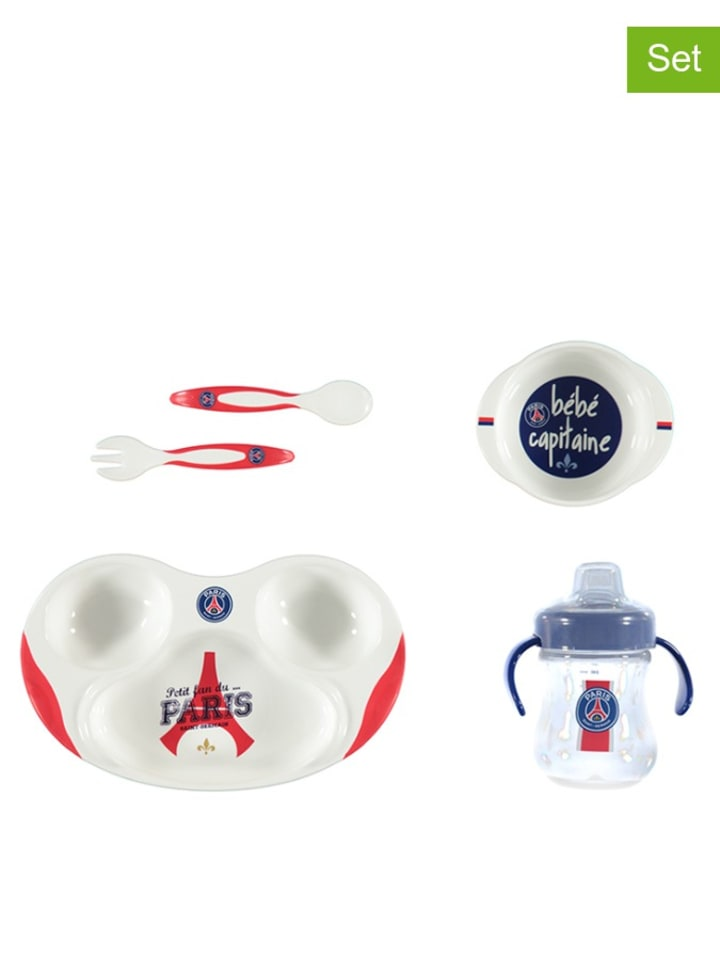 "Paris Saint-Germain Ensemble repas 4 pcs ""PSG"" - blanc/rouge/bleu"