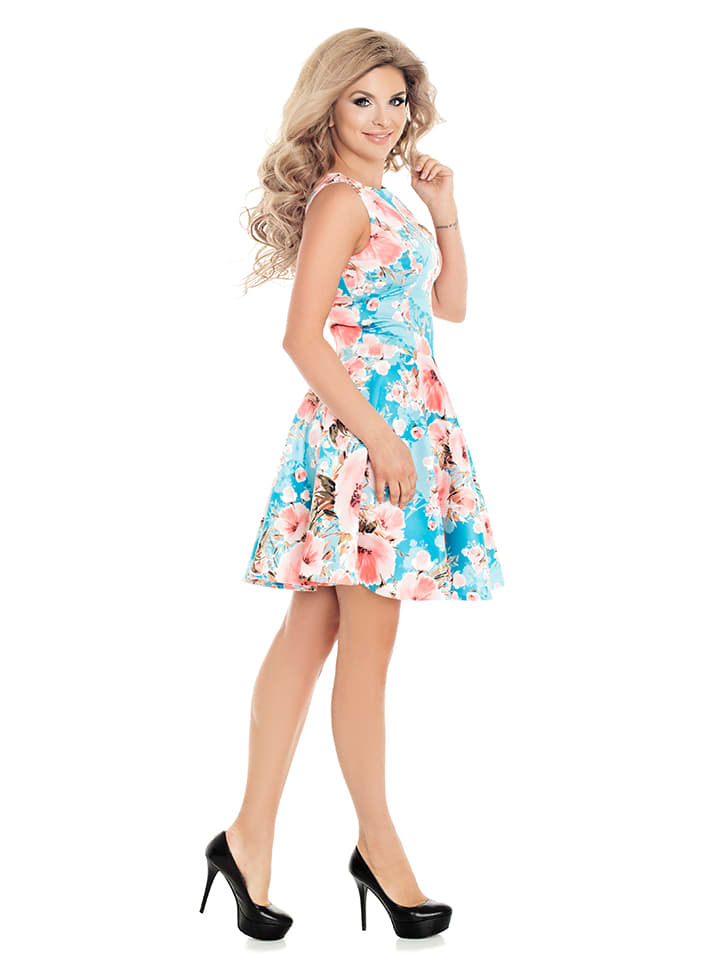 Numoco Kleid in Hellblau/ Rosa