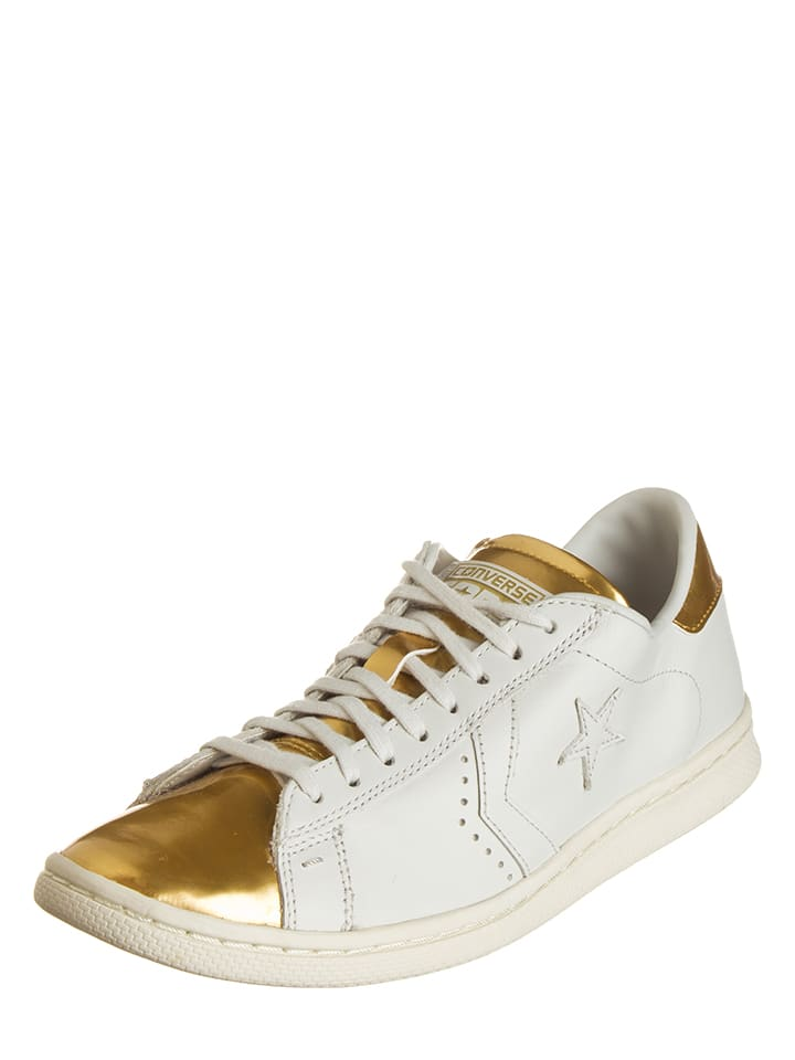 """Converse Leder-Sneakers """"Pro"""" in Weiß/ Gold"""