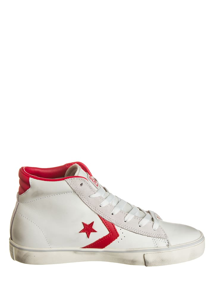 "Converse Leder-Sneakers ""Pro"" in Weiß/ Rot"
