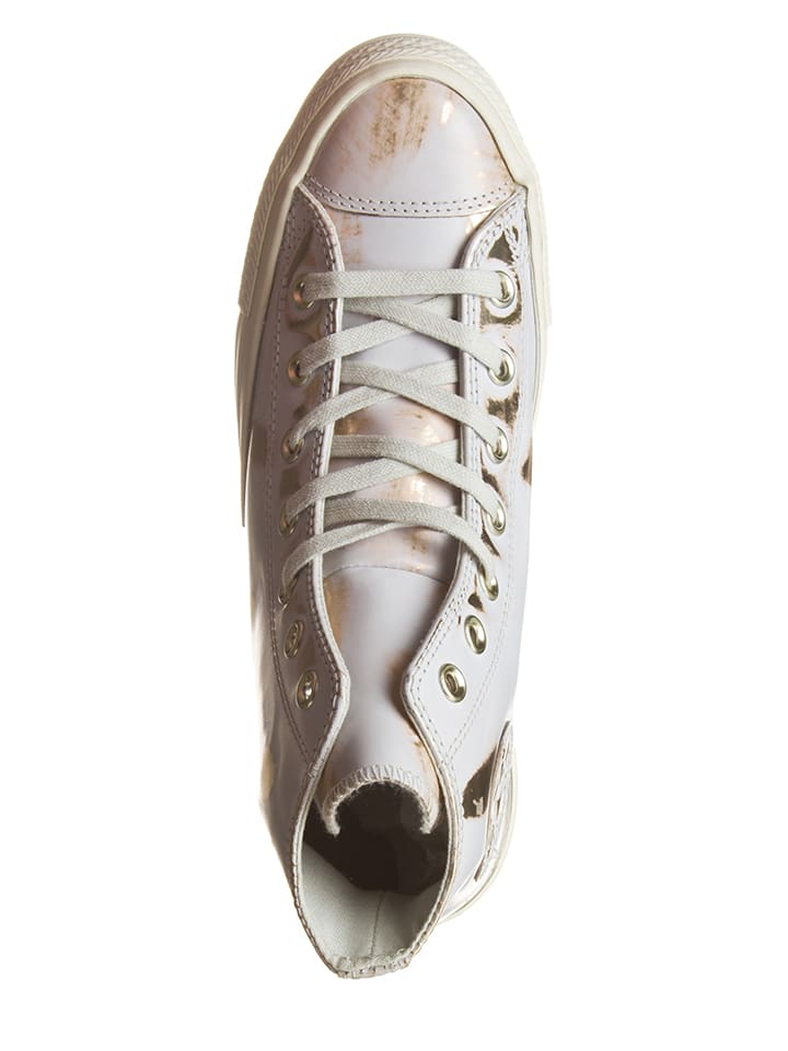 "Converse Leder-Sneakers ""Brush"" in Weiß/ Bronze"