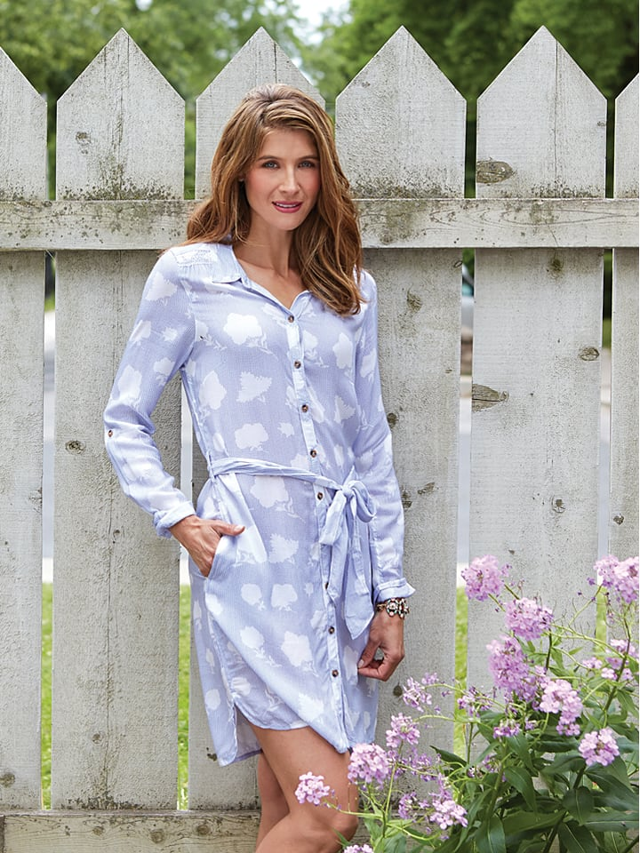 Hatley Kleid in Hellgrau/ Weiß
