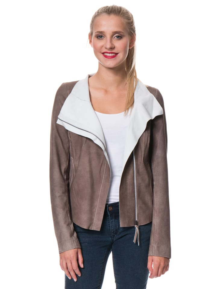 "FREAKY NATION Lederjacke ""Blow up 3"" in Taupe"