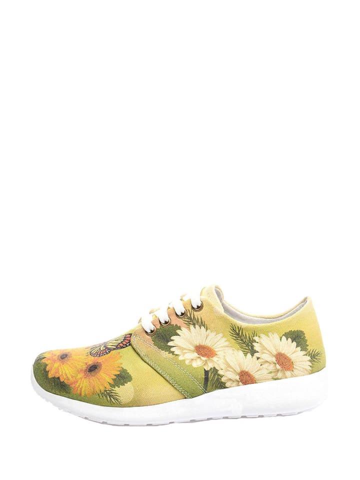 Cotto Sneakers in Grün/ Gelb/ Weiß