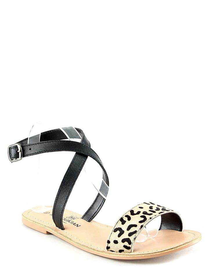 Manoukian Leder-Sandalen in Schwarz/ Beige