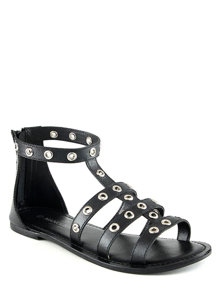 Manoukian Leder-Sandalen in Schwarz