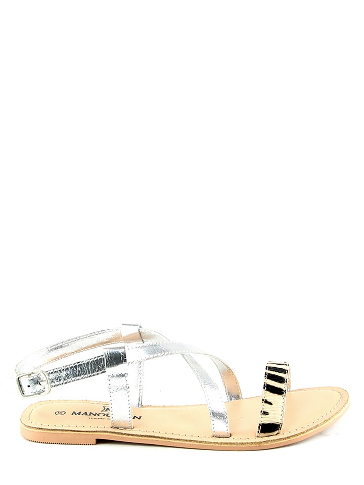 Manoukian Leder-Sandalen in Silber/ Beige/ Schwarz