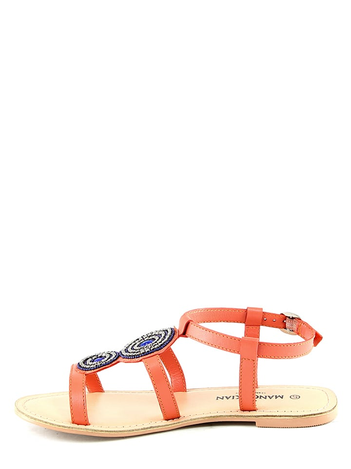 Manoukian Leder-Sandalen in Orange