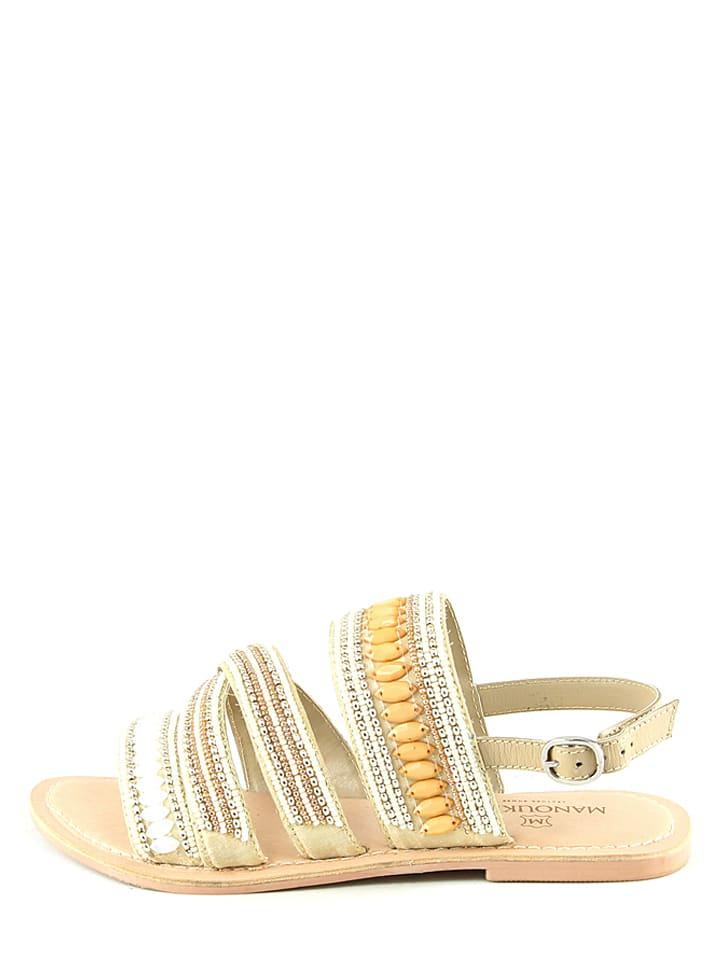 Manoukian Leder-Sandalen in Beige/ Weiß