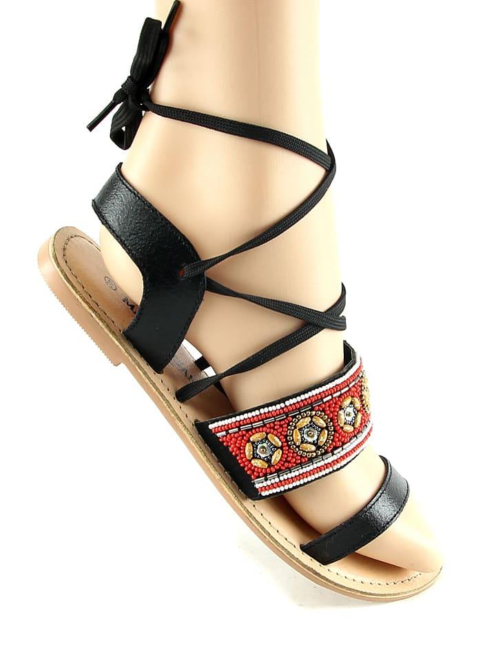 Manoukian Leder-Sandalen in Schwarz/ Bunt