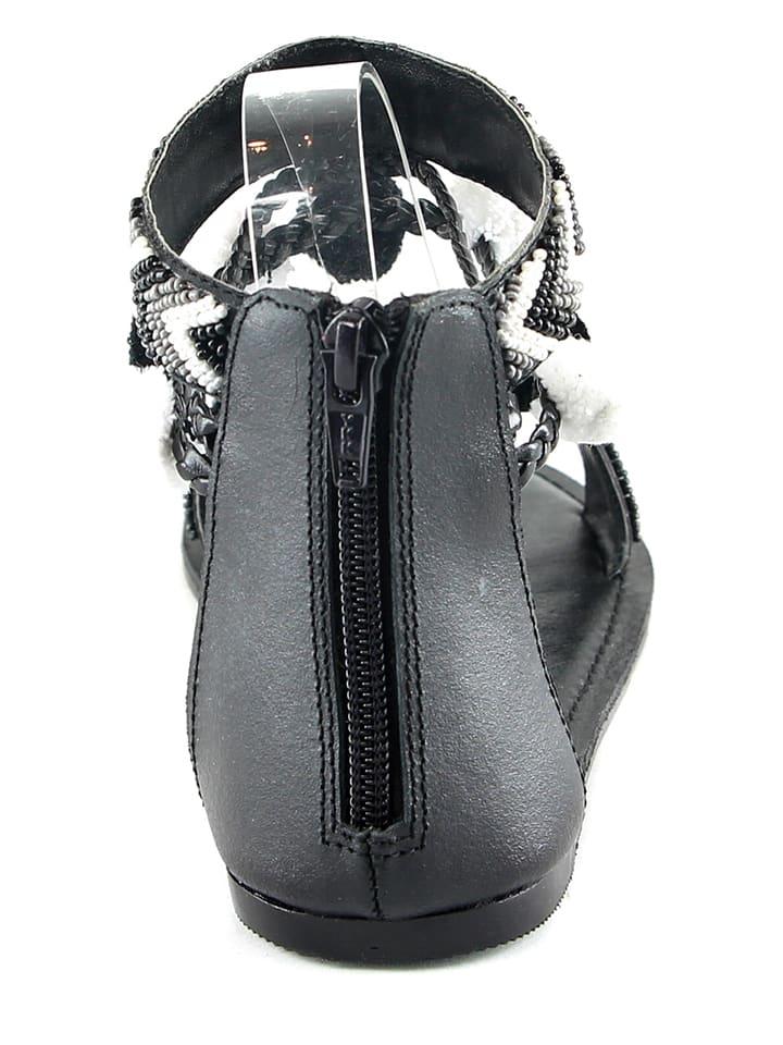 Manoukian Leder-Sandalen in Schwarz/ Weiß