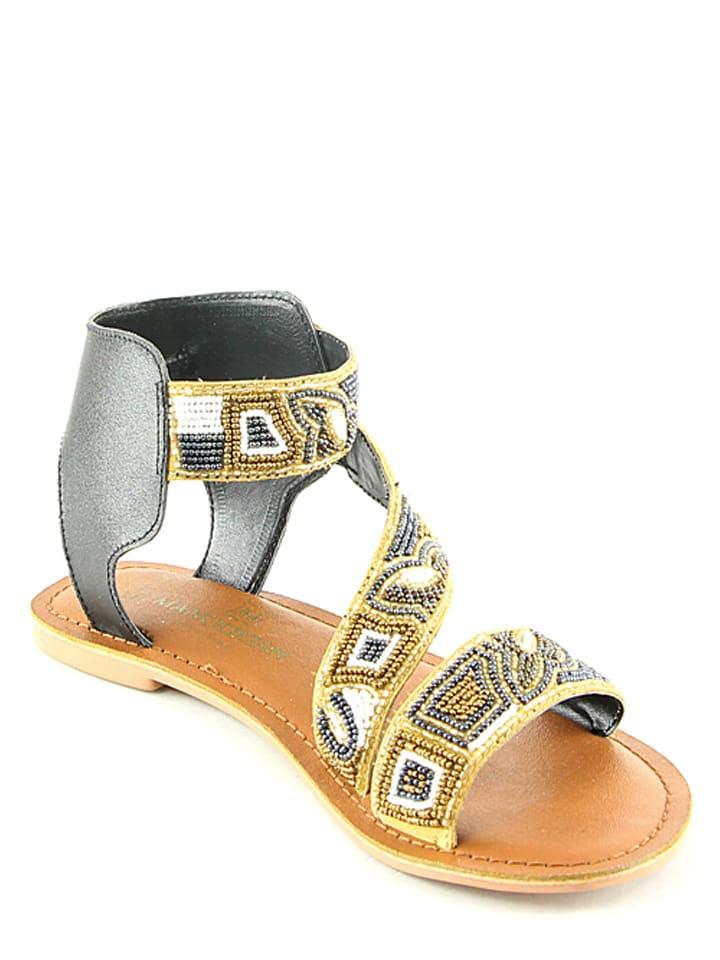 Manoukian Leder-Sandalen in Schwarz/ Weiß/ Beige