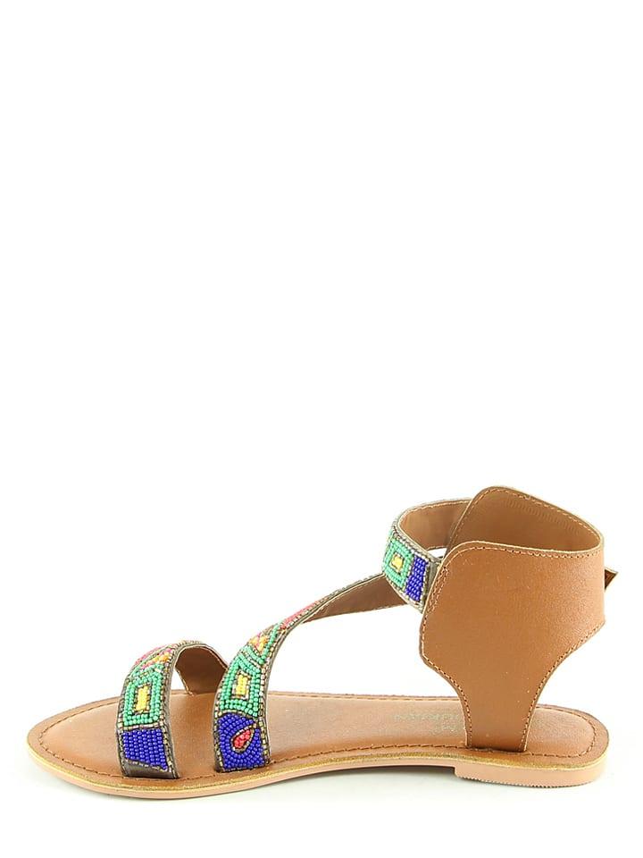 Manoukian Leder-Sandalen in Hellbraun/ Bunt