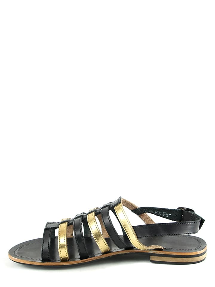 Manoukian Leder-Sandalen in Schwarz/ Gold