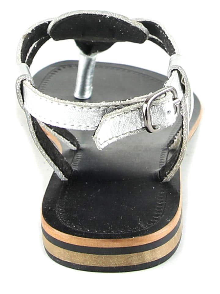Manoukian Leder-Zehentrenner in Silber