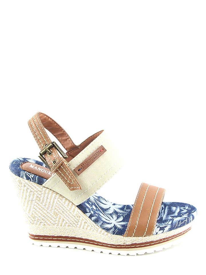 Manoukian Keil-Sandaletten in Beige/ Hellbraun