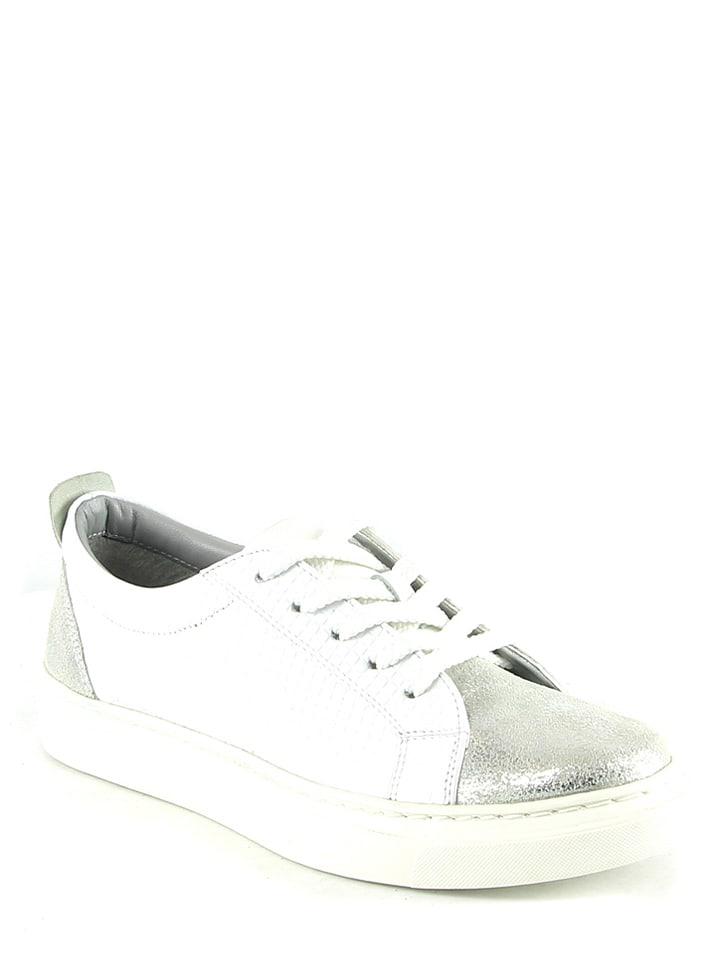 Manoukian Leder-Sneakers in Weiß/ Silber