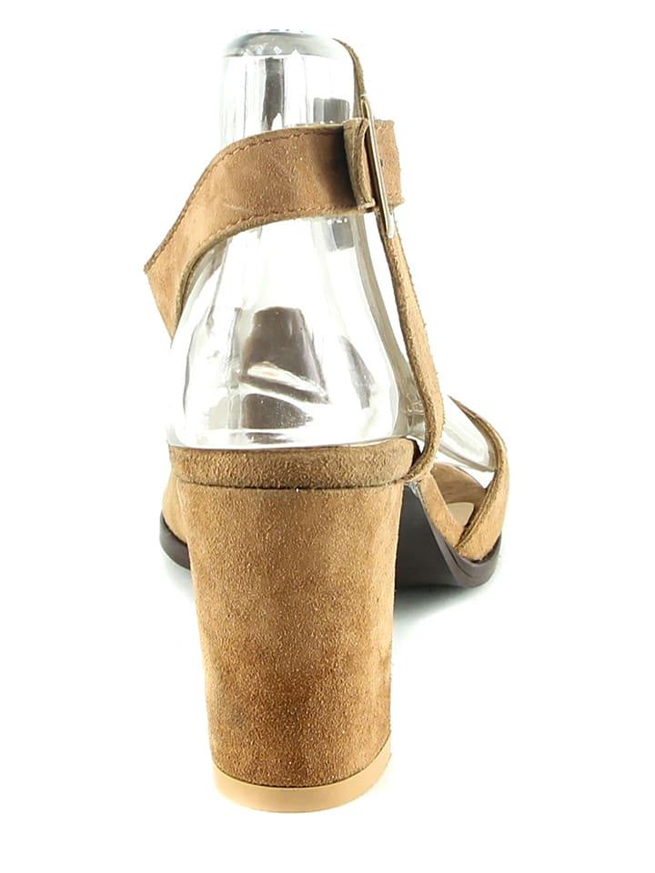 Manoukian Leder-Sandaletten in Hellbraun