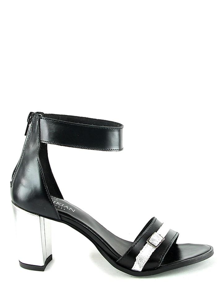 Manoukian Leder-Sandaletten in Schwarz