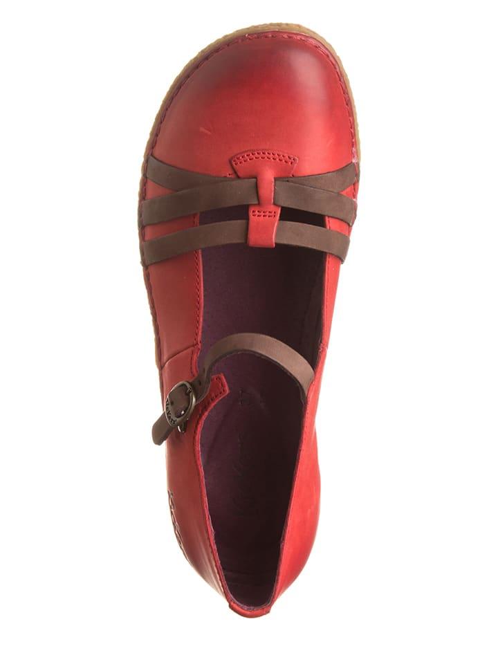 "Kickers Leder-Spangenballerinas ""Hibou"" in Koralle"
