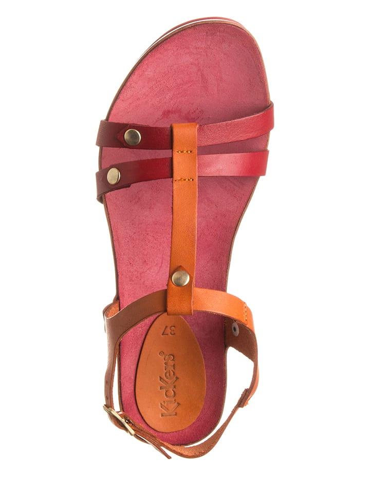 """Kickers Leder-Sandaletten """"Takit"""" in Orange/ Rot"""