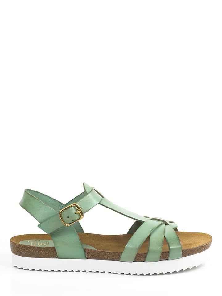 Mia Loé Leder-Sandalen in Mint