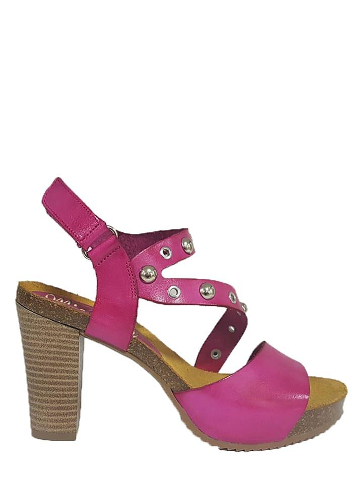 Mia Loé Leder-Sandaletten in Fuchsia