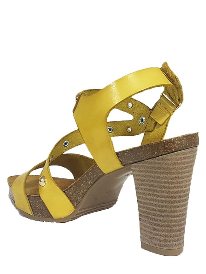 Mia Loé Leder-Sandaletten in Gelb