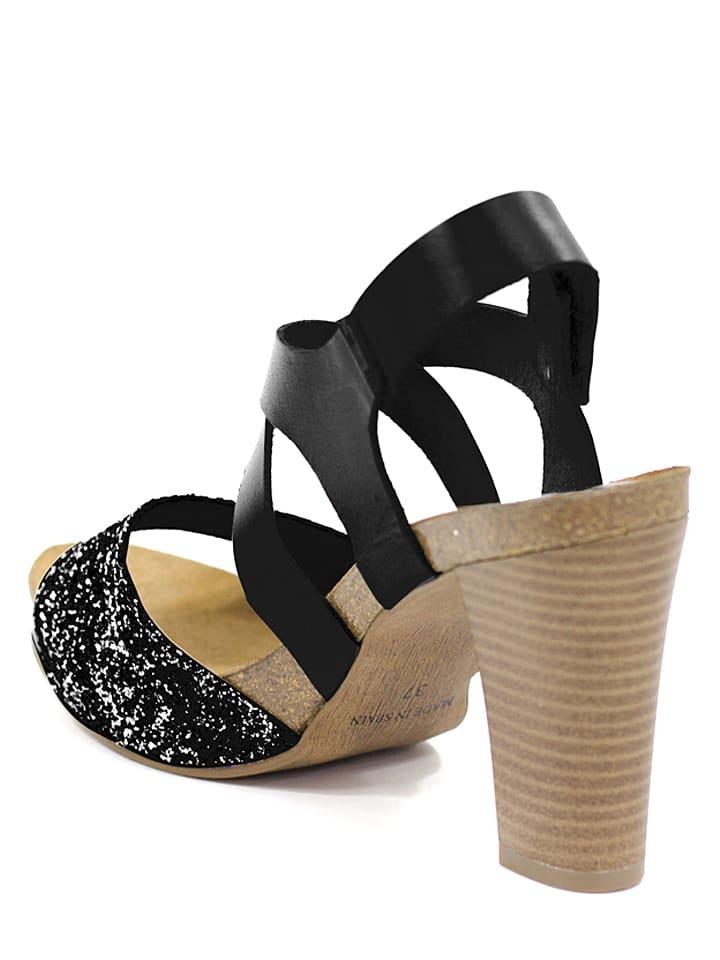 Mia Loé Leder-Sandaletten in Schwarz