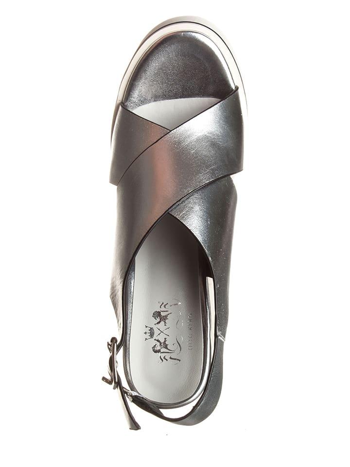 Otto Kern Leder-Sandaletten in Silber