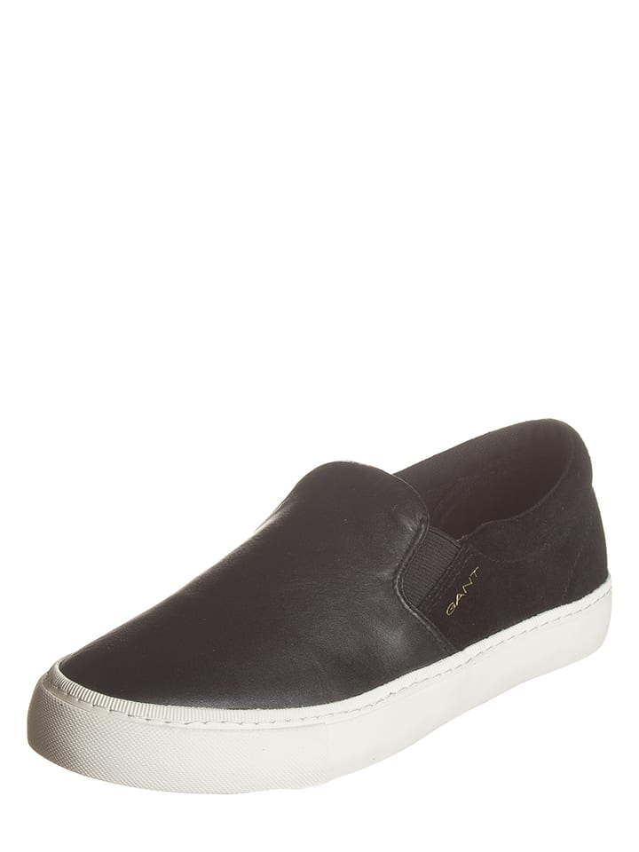 GANT Footwear Leder-Slipper in Schwarz