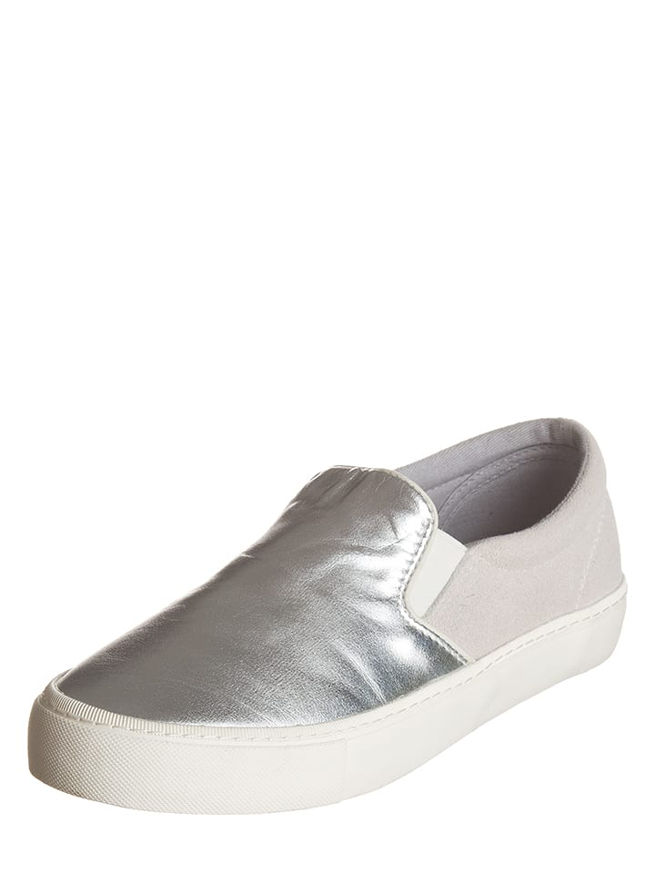 GANT Footwear Leder-Slipper in Silber