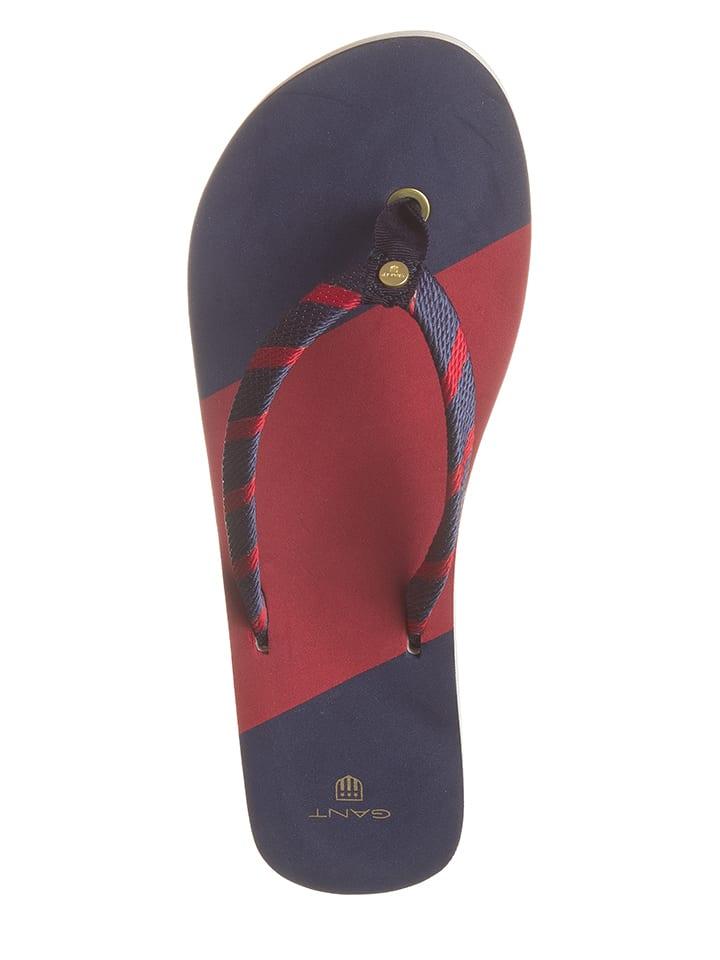 GANT Footwear Zehentrenner in Dunkelblau/ Rot