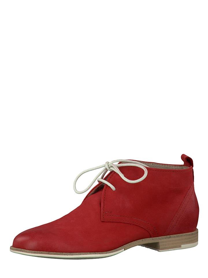 Marco Tozzi Leder-Schnürschuhe in Rot