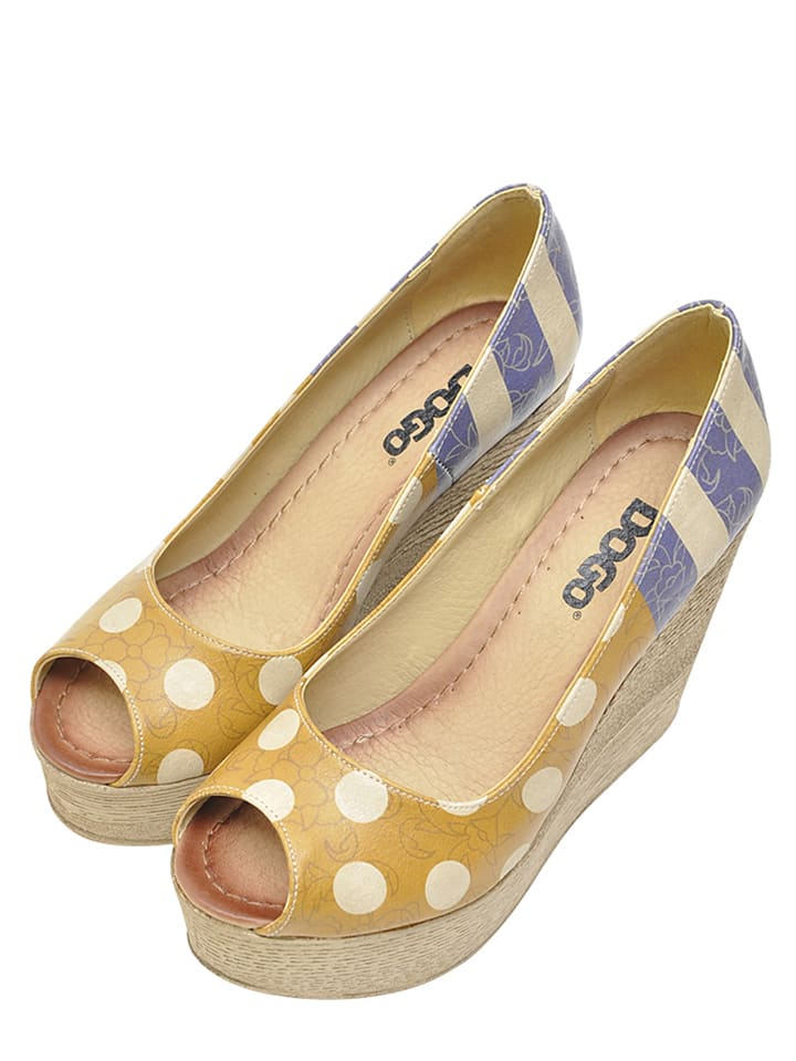 "Dogo Peeptoes ""Stripes an dots"" in Gelb/ Blau"
