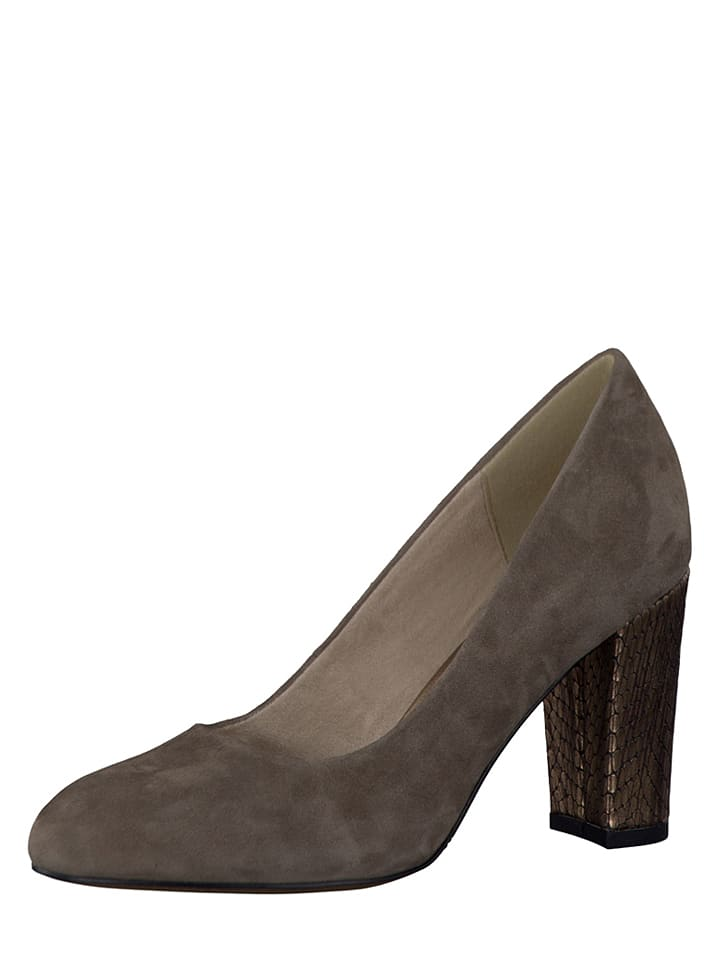 S. Oliver Leder-Pumps in Taupe