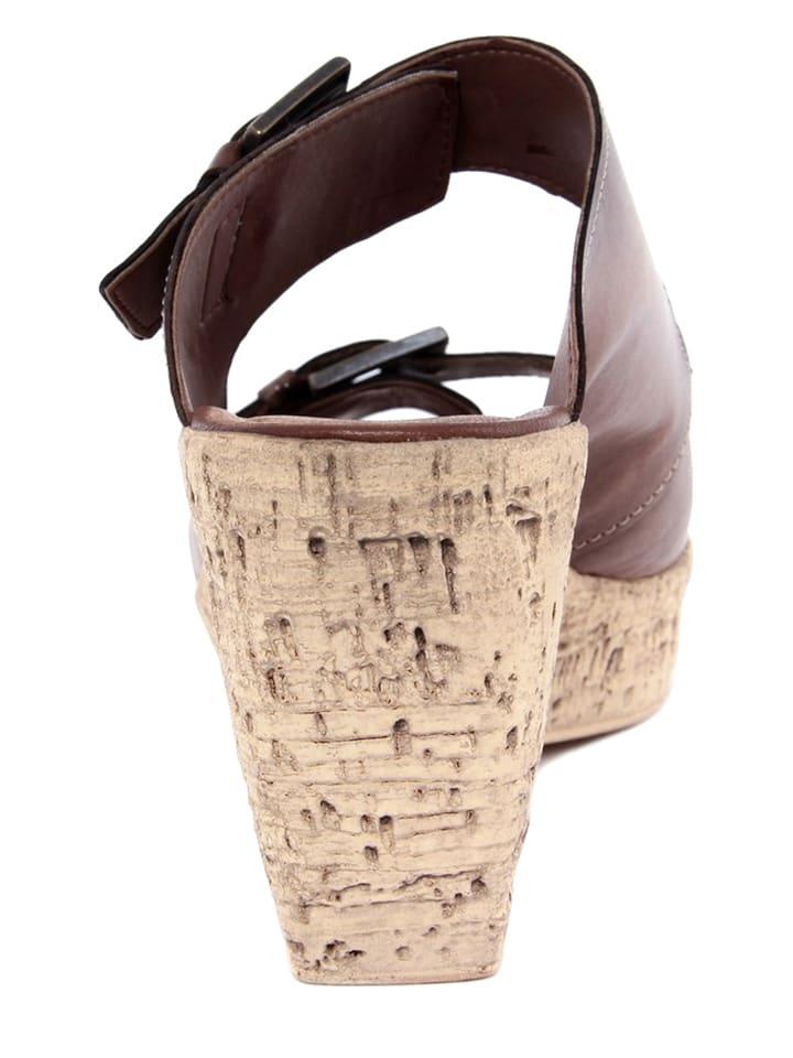 Pie Libre Leder-Pantoletten in Braun