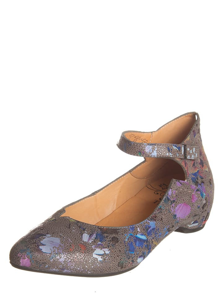 "Think! Leder- Ballerinas ""Imma"" in Grau/ Bunt"