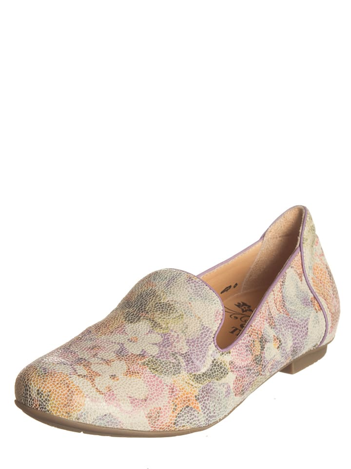"Think! Leder-Ballerinas ""Balla"" in Creme/ Bunt"