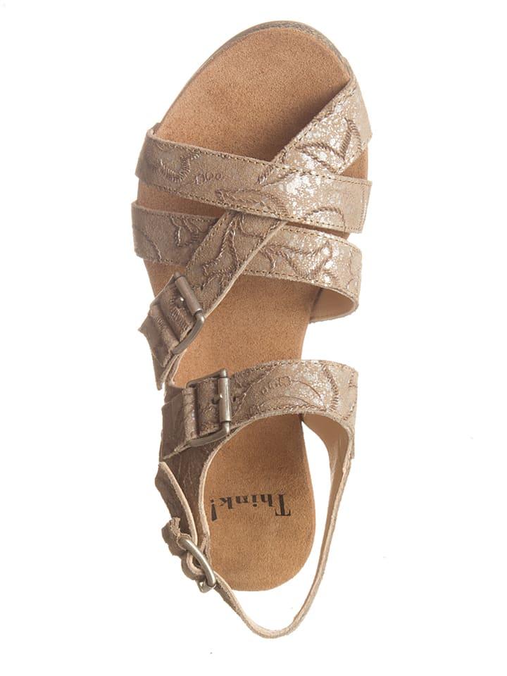 "Think! Leder-Sandaletten ""Traudi"" in Beige"
