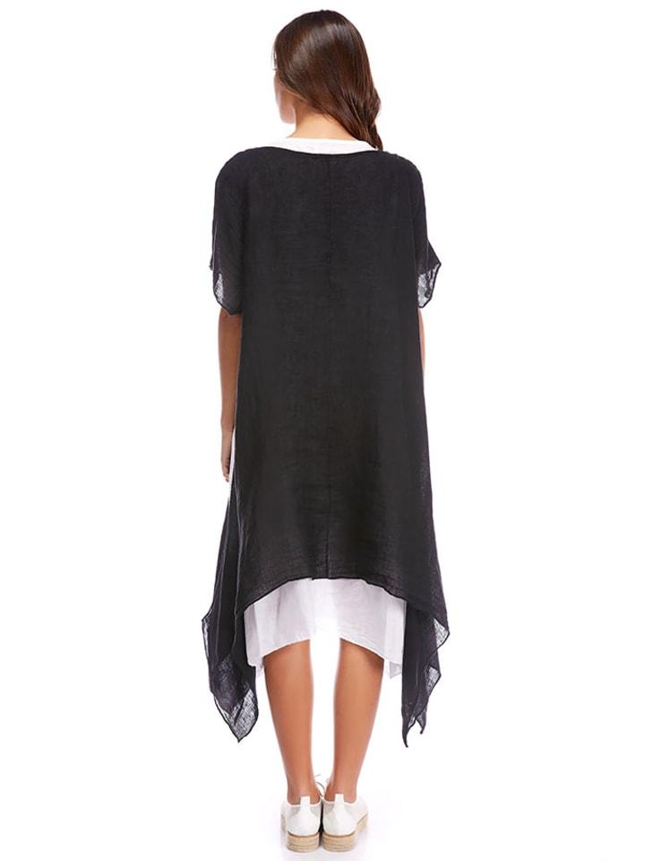 La Compagnie Du Lin Leinen-Kleid in Schwarz