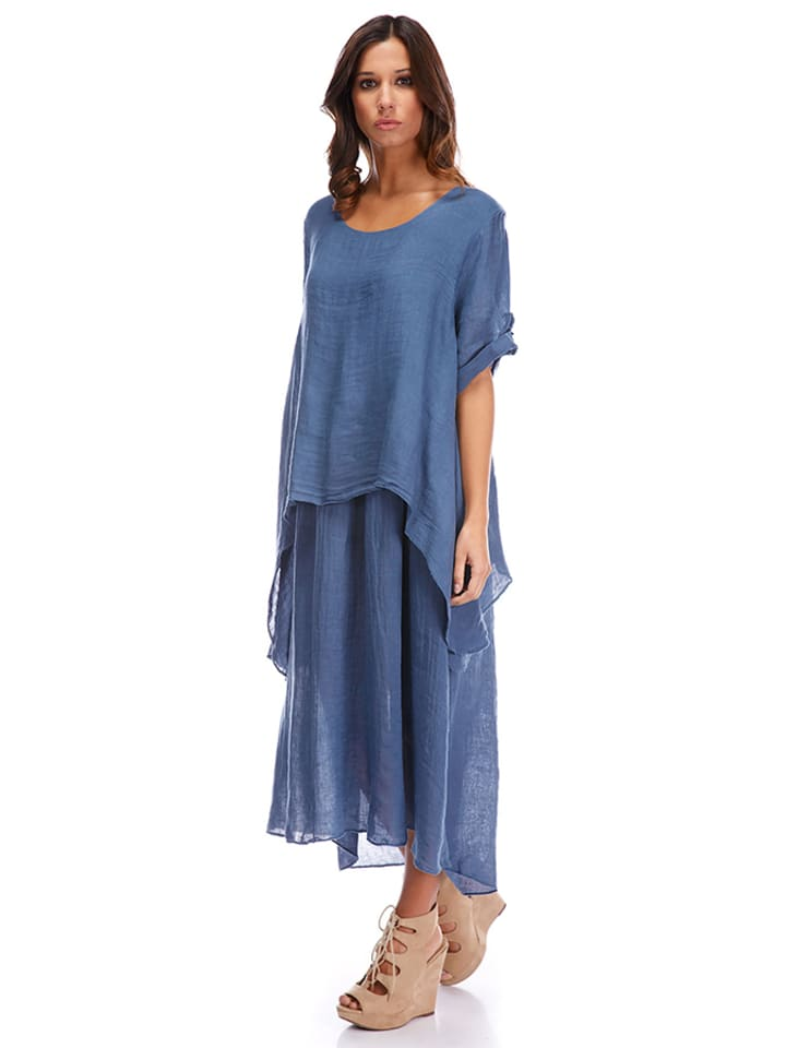 La Compagnie Du Lin Leinen-Kleid in Blau