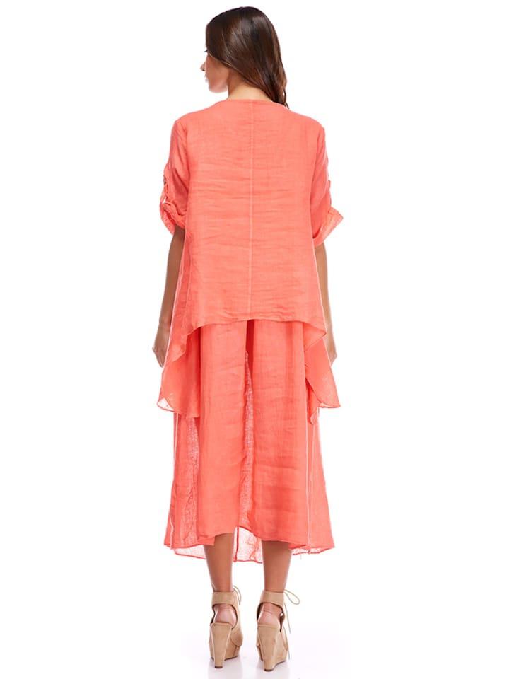 La Compagnie Du Lin Leinen-Kleid in Koralle