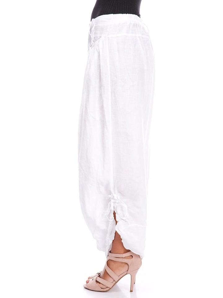 La Compagnie Du Lin Leinen-Hose in Weiß