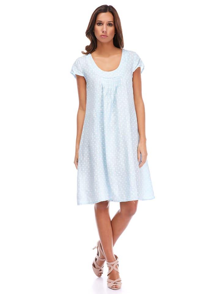La Compagnie Du Lin Leinen-Kleid in Hellblau