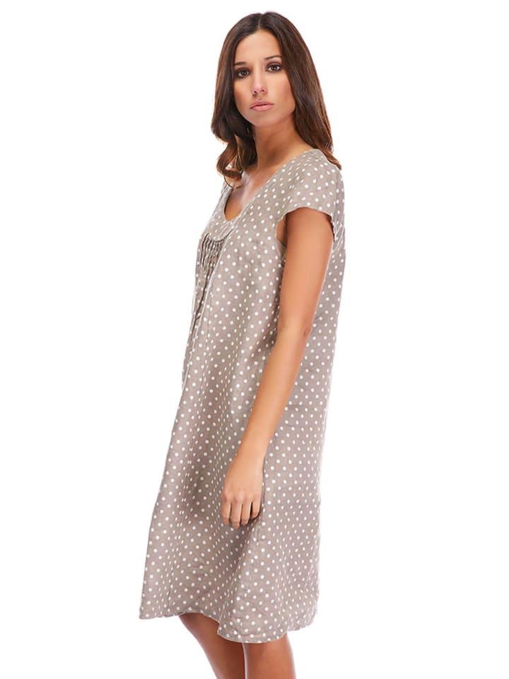 La Compagnie Du Lin Leinen-Kleid in Taupe